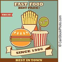 alimento, menu., rapidamente