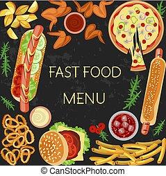 alimento, menu, rapidamente