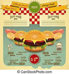 alimento, menu, retro, rapidamente