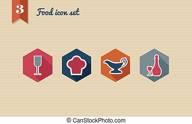 alimento, menu, set., apartamento, ícone