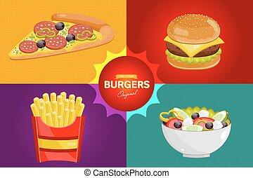 alimento, menu, template., rapidamente