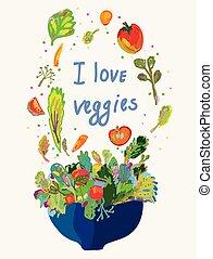 alimento, menu, vegetariano, -, em branco, vegetal