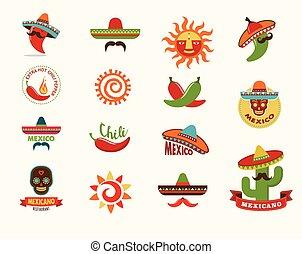 alimento mexicano, iconos, menú, elementos, para, restaurante