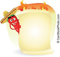 alimento, mexicano, restaurante, bandera, especia