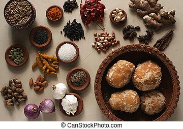 alimento, mezcla, indio, ingrediente
