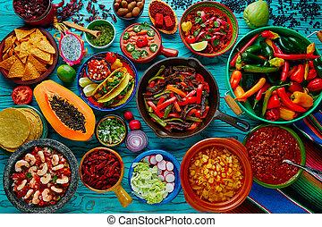 alimento, mezcla, mexicano, colorido, plano de fondo