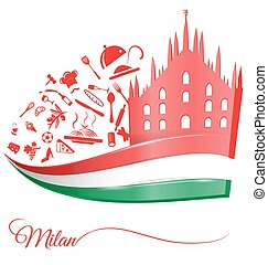 alimento, milão, elemento, bandeira, catedral, italiano