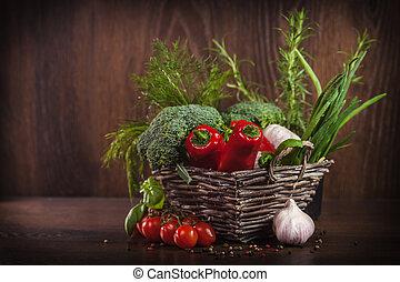 alimento, mimbre, lleno, sano, cesta