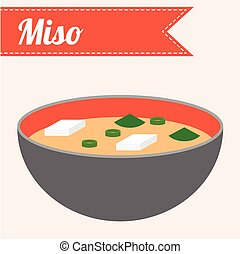 alimento, miso, vetorial, japoneses, sopa