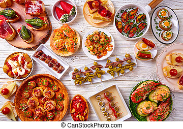 alimento, mistura, tapas, pinchos, espanha