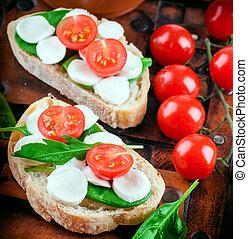 alimento, mozzarella, tomates, bread., italiano