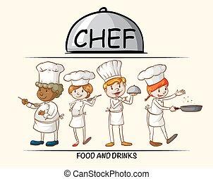 alimento, muitos, cozinheiros, cozinhar