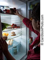 alimento, mujer, hambriento, escoger