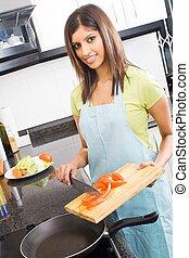 alimento, mujer, indio, preparando