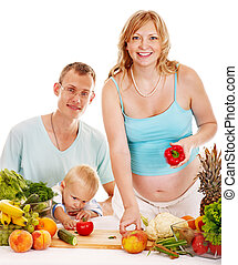 alimento, mujer, preparando, familia , embarazada