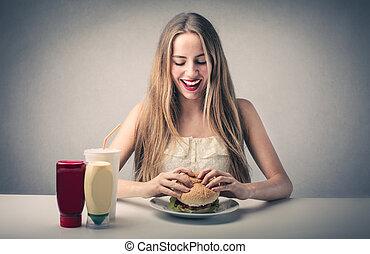 alimento, mulher, comer, rapidamente