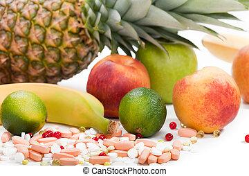alimento, multi, fruta, vitamina