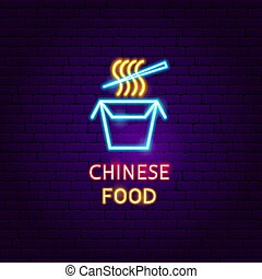 alimento, néon, chinês, etiqueta