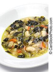 alimento, negro, col rizada, sopa, italiano