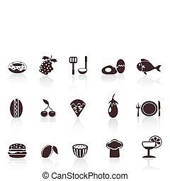 alimento, negro, iconos