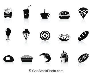 alimento, negro, rápido, icono