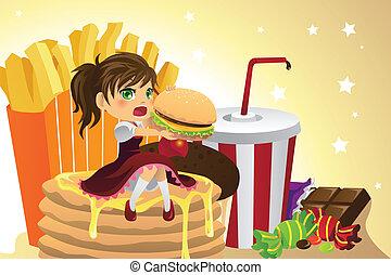 alimento, niña, comida, chatarra