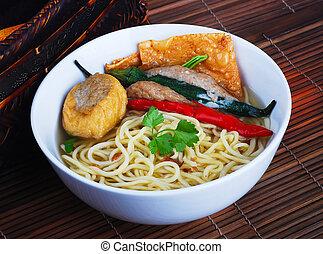 alimento, noodle, soup., ásia