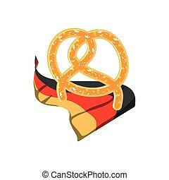 alimento, oktoberfest, bandeira, alemanha, pretzel