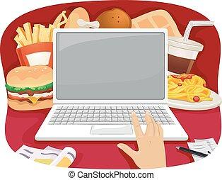 alimento, orden, rápido, en línea
