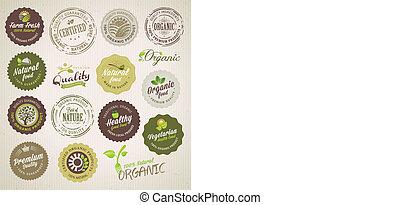 alimento orgánico, etiquetas, y, elementos