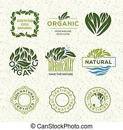 alimento orgánico, etiquetas, y, elementos, conjunto, para, alimento y bebida, restaurantes, y, orgánico, productos, vector, illustration.