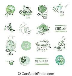 alimento orgánico, etiquetas, y, insignias