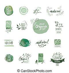 alimento orgánico, insignias, y, elementos