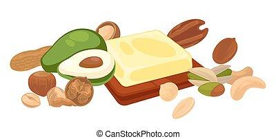 alimento orgánico, vegetariano, nueces, fruta, frijol,...