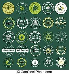 alimento orgánico, y, bebida, etiquetas, y, elementos, conjunto