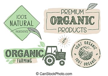 alimento, orgânica, adesivos
