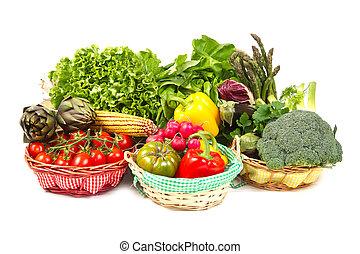 alimento orgânico, fundo, legumes, em, a, cesta