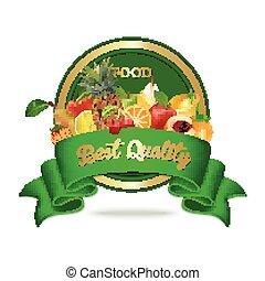alimento orgânico, seal., etiqueta, qualidade, fresco, emblema, ou, melhor