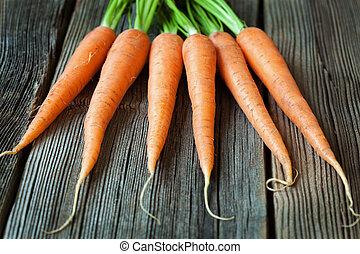 alimento orgânico, vegetariano, cenouras, rústico, madeira, fundo, fresco, grupo