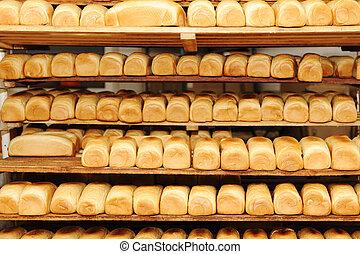 alimento, pão, fábrica, panificadora
