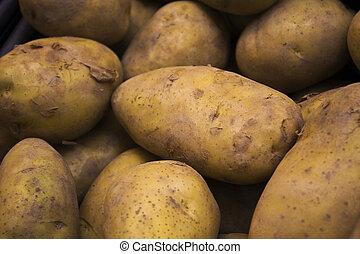 alimento, padrão, batatas, legumes, mercado, cru