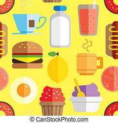 alimento, padrão, bebida, fundo