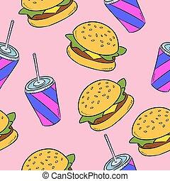 alimento, padrão, hand-drawn, rapidamente, seamless, americano, doodles
