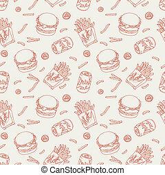 alimento, padrão, rapidamente, mão, doodle, desenhado