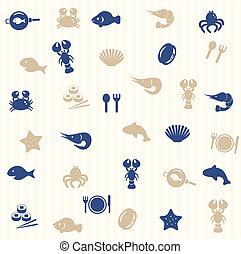 alimento, padrão, seamless, mar