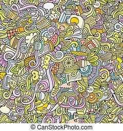 alimento, padrão, seamless, vetorial, doodles, caricatura