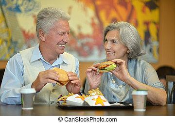 alimento, par, comer, idoso, rapidamente