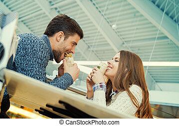 alimento, par, rapidamente, comer, restaurante