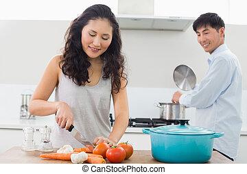 alimento, pareja, joven, juntos, preparando, cocina
