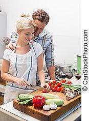 alimento, pareja, preparando, juntos, cocina